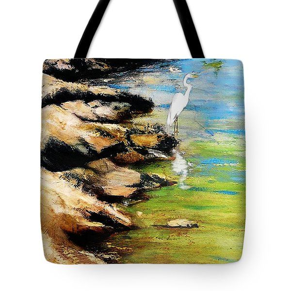 Original Fine Art Painting Pool Edge Gulf Coast Florida Tote Bag