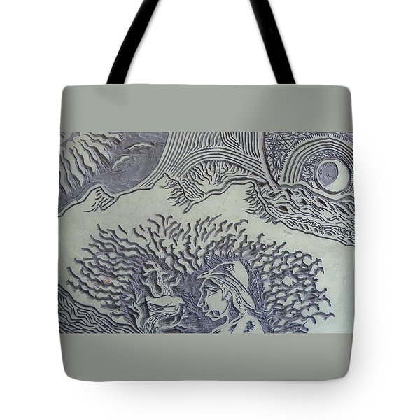 Original Linoleum Block Print Tote Bag by Thor Senior