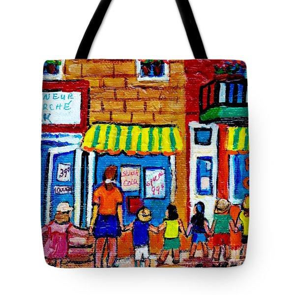 Original Painting Of Montreal For Sale Daycare Kids Fairmount Street Mile End Depanneur Summer Scene Tote Bag
