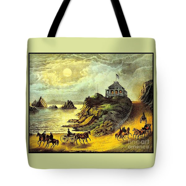 Tote Bag featuring the painting Original San Francisco Cliff House Circa 1865 by Peter Gumaer Ogden