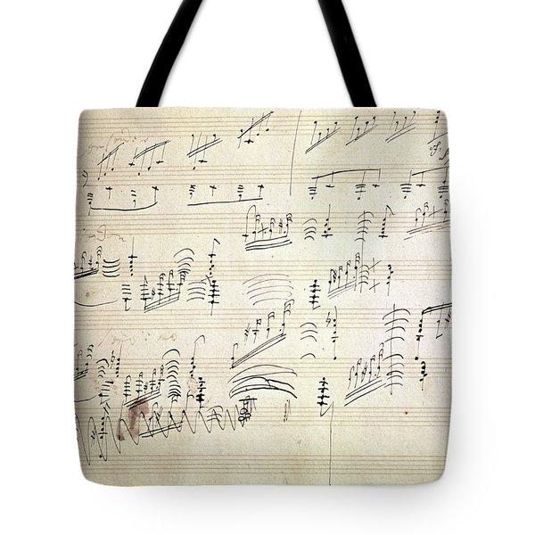 Original Score Of Beethoven's Moonlight Sonata Tote Bag