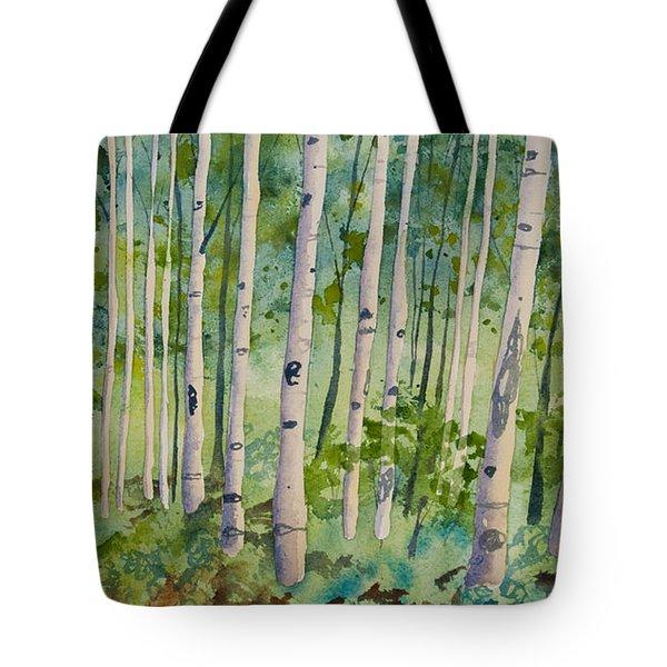 Original Watercolor - Summer Aspen Forest Tote Bag