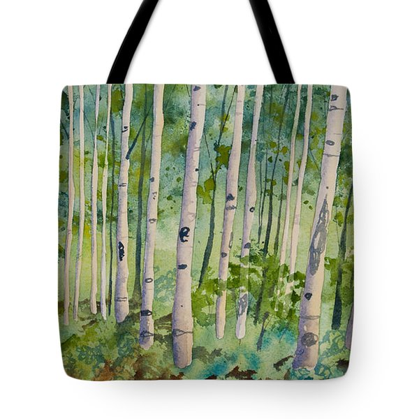 Original Watercolor - Summer Aspen Forest Tote Bag