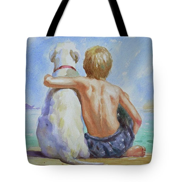 Original Watercolour Painting Nude Boy And Dog On Paper#16-11-18 Tote Bag