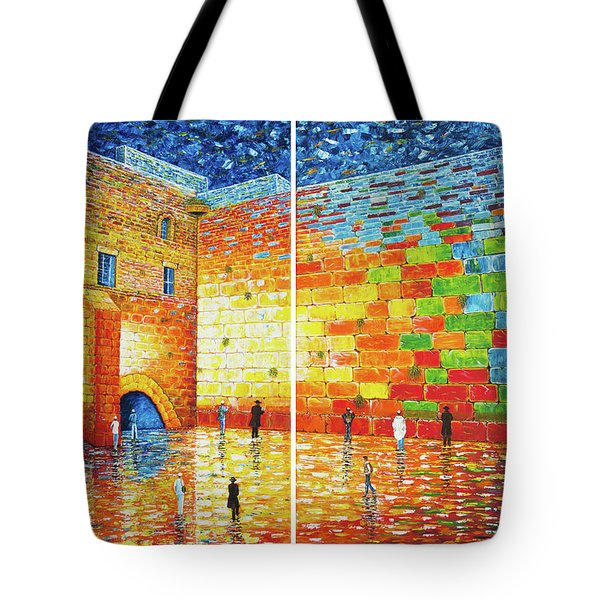Tote Bag featuring the painting Original Western Wall Jerusalem Wailing Wall Acrylic 2 Panels by Georgeta Blanaru