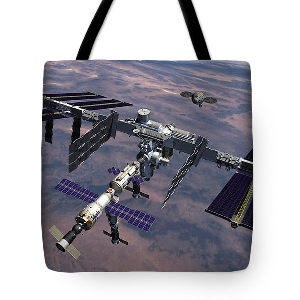 Orion Approaching Iss Tote Bag