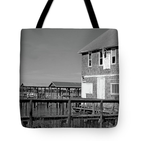 Ormond Yacht Club Black And White Tote Bag by DigiArt Diaries by Vicky B Fuller