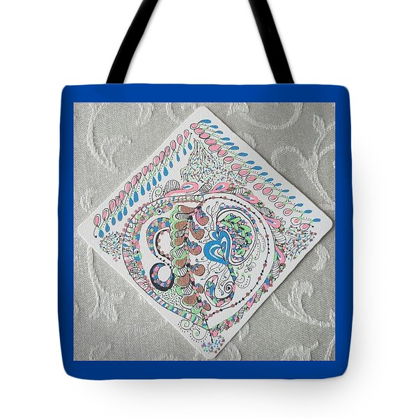 Tote Bag featuring the drawing Ornament by Carole Breccht