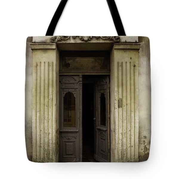 Ornamented Gate In Dark Brown Color Tote Bag by Jaroslaw Blaminsky