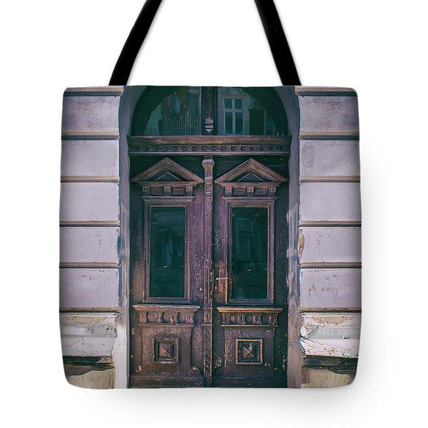 Ornamented Wooden Gate In Violet Tones Tote Bag by Jaroslaw Blaminsky