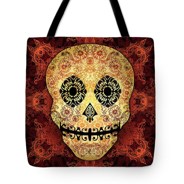 Ornate Floral Sugar Skull Tote Bag