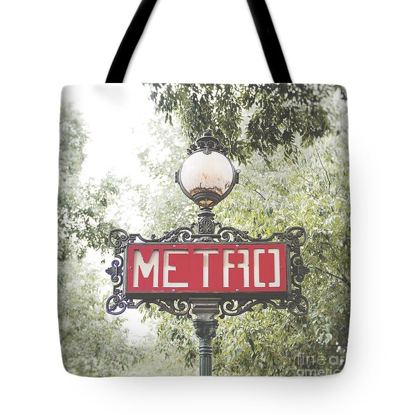 Ornate Paris Metro Sign Tote Bag by Ivy Ho