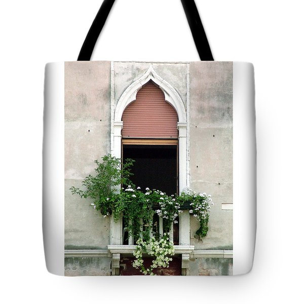 Tote Bag featuring the photograph Ornate Window With Red Shutters by Donna Corless