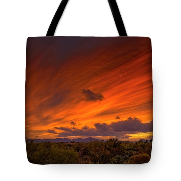 Tote Bag featuring the photograph Oro Valley Sunset H6 by Mark Myhaver