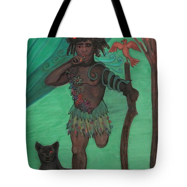 Tote Bag featuring the drawing Osain by Gabrielle Wilson-Sealy