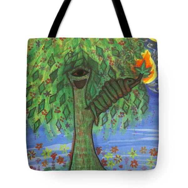 Tote Bag featuring the drawing Osain Tree by Gabrielle Wilson-Sealy