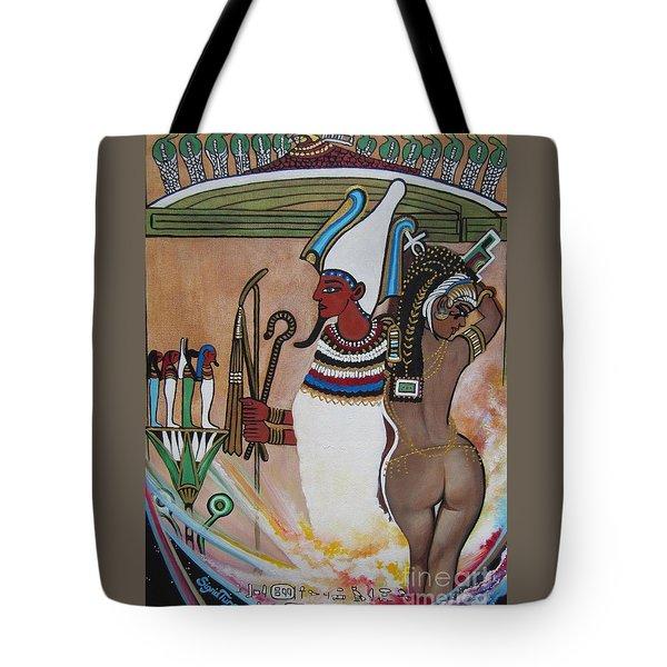 Blaa Kattproduksjoner         Osiris With Goddess Isis And 4 Grandkids Tote Bag