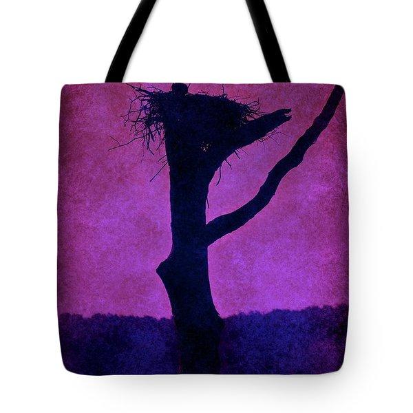 Osprey Nest Silhouette - Manasquan Reservoir Tote Bag by Angie Tirado