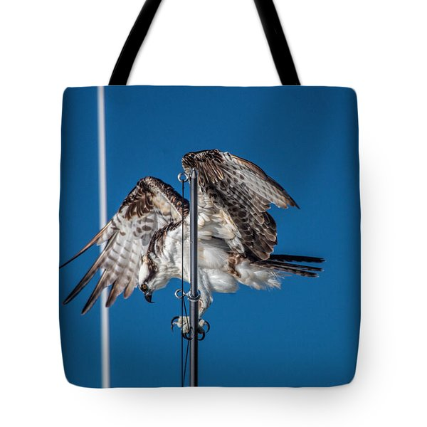 Osprey On The Boat Rod Tote Bag
