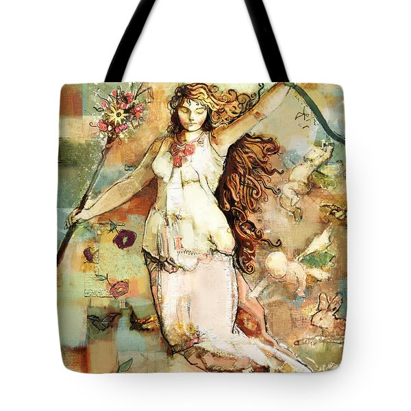 Tote Bag featuring the mixed media Ostara by Carrie Joy Byrnes