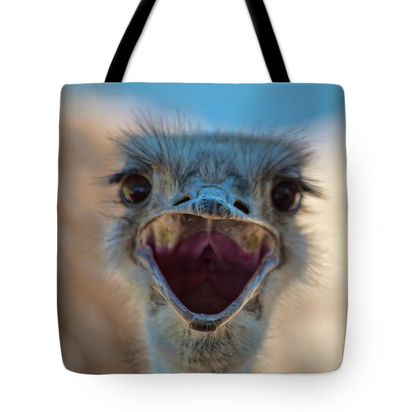 Tote Bag featuring the photograph Ostrich Big Mouth by Dan McManus