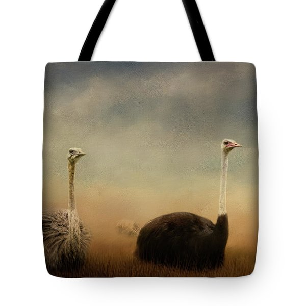 Ostrich Couple Tote Bag by Jai Johnson