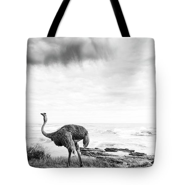Tote Bag featuring the photograph Ostrich Pair Beside Ocean Black And White by Tim Hester