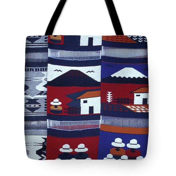 Tote Bag featuring the photograph Otavalo Wall Hangings Ecuador by John  Mitchell