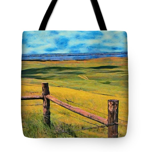 Tote Bag featuring the painting Other Side Of The Fence by Jeff Kolker