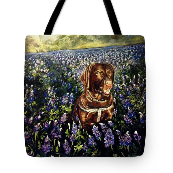 Tote Bag featuring the painting Otis In The Bluebonnets by J Reynolds Dail