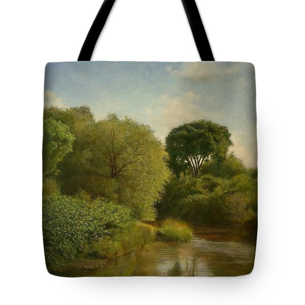 Tote Bag featuring the painting Otselic River by Wayne Daniels