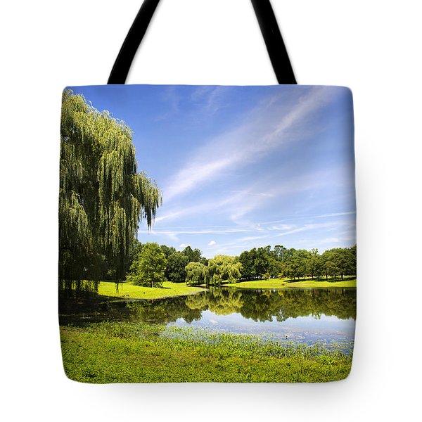 Otsiningo Park Reflection Landscape Tote Bag by Christina Rollo