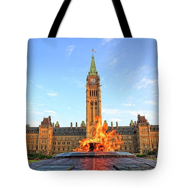 Ottawa Parliament Hill With Centennial Flame Tote Bag by Charline Xia