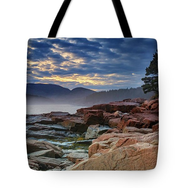 Otter Cove In The Mist Tote Bag by Rick Berk