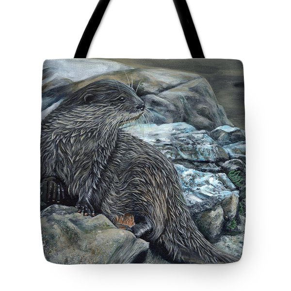 Otter On Rocks Tote Bag