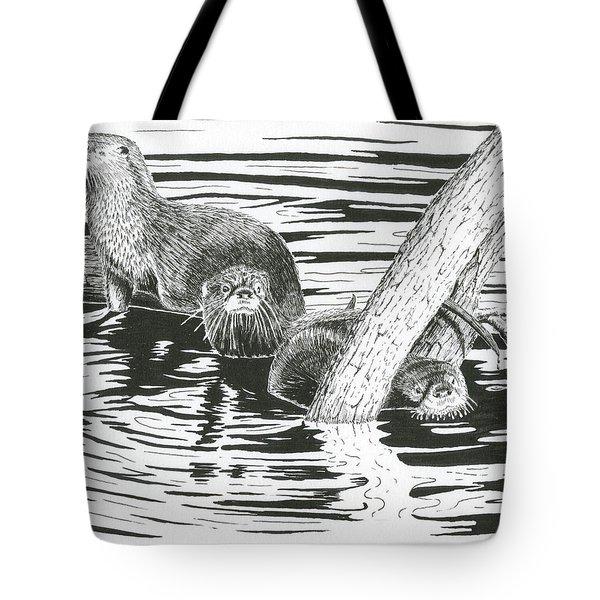 Otters Three Tote Bag