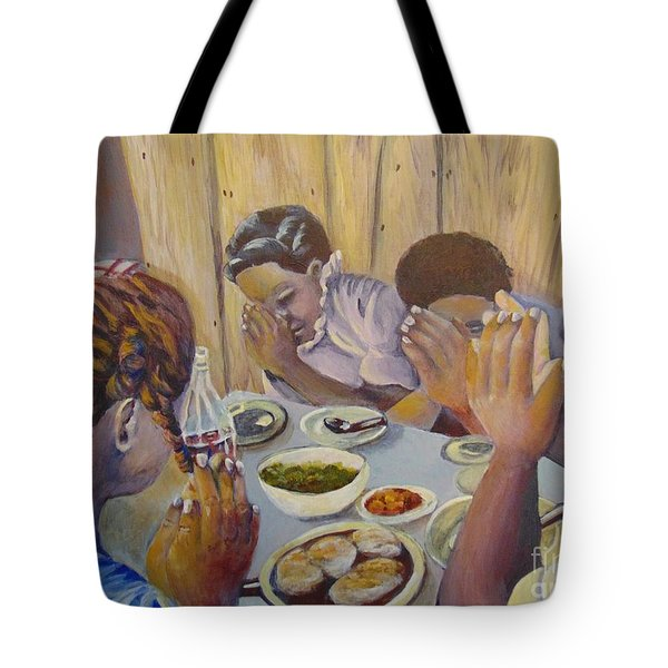 Tote Bag featuring the painting Our Daily Bread by Saundra Johnson