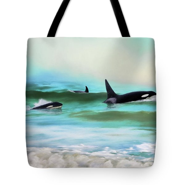 Our Family - Orca Whale Art Tote Bag