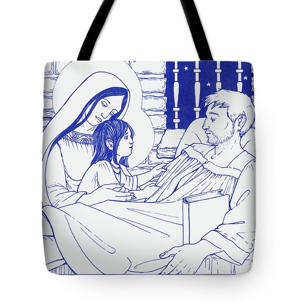 Tote Bag featuring the painting Our Lady And The Holy Child Jesus Visit St Ignatius The Convalescent In Loyola by William Hart McNichols