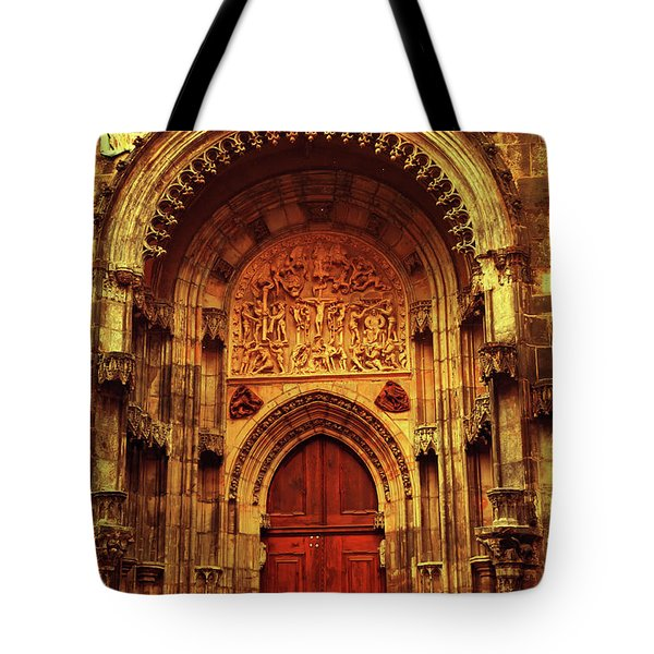 Tote Bag featuring the photograph Our Lady Before Tyn 1. Architecture. Series Golden Prague by Jenny Rainbow