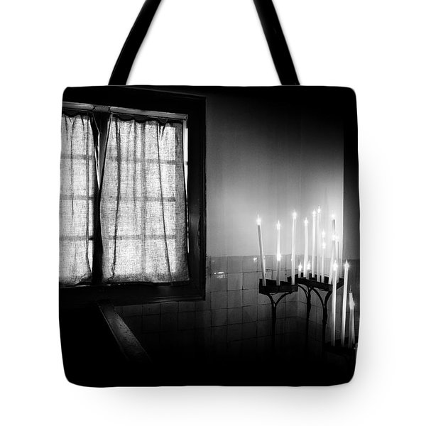 Tote Bag featuring the photograph Our Lady Chapel Detail In  The Ons' Lieve Heer Op Solder Amsterdan Bw by RicardMN Photography
