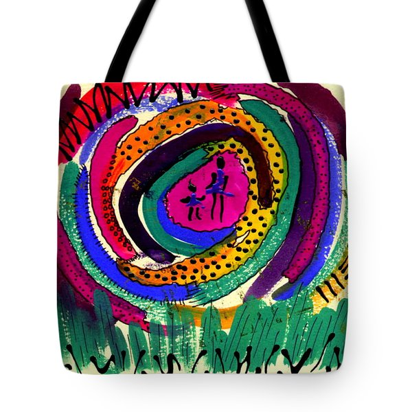 Tote Bag featuring the mixed media Our Own Colorful World I by Angela L Walker