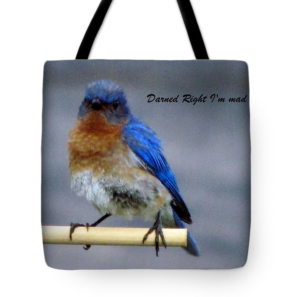 Our Own Mad Blue Bird Tote Bag by Betty Pieper