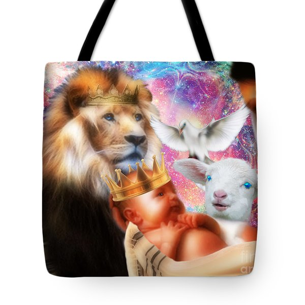 Tote Bag featuring the digital art Our Saviors Birth by Dolores Develde