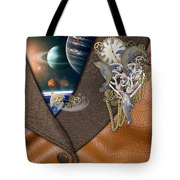 Our World On Time Tote Bag by Nadine May
