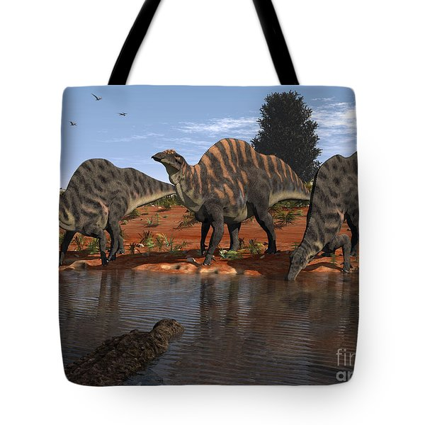 Ouranosaurus Drink At A Watering Hole Tote Bag by Walter Myers