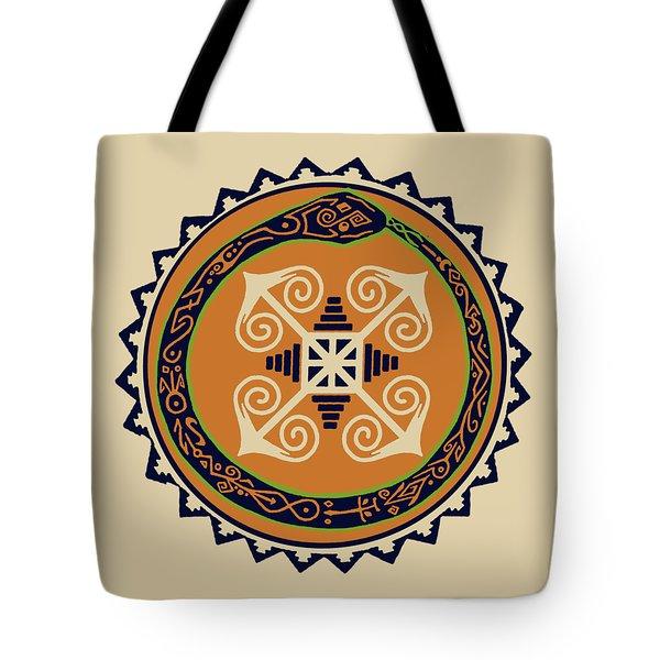 Ouroboros With Devine Fire Wheel Tote Bag