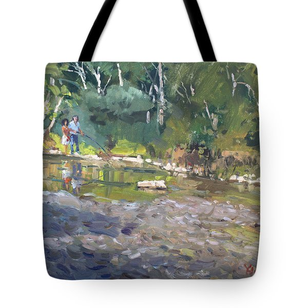 Out Fishing With Viola  Tote Bag