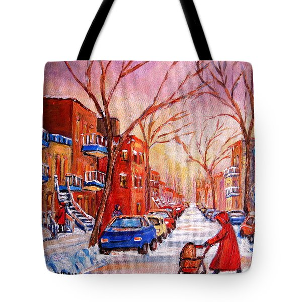 Out For A Walk With Mom Tote Bag by Carole Spandau