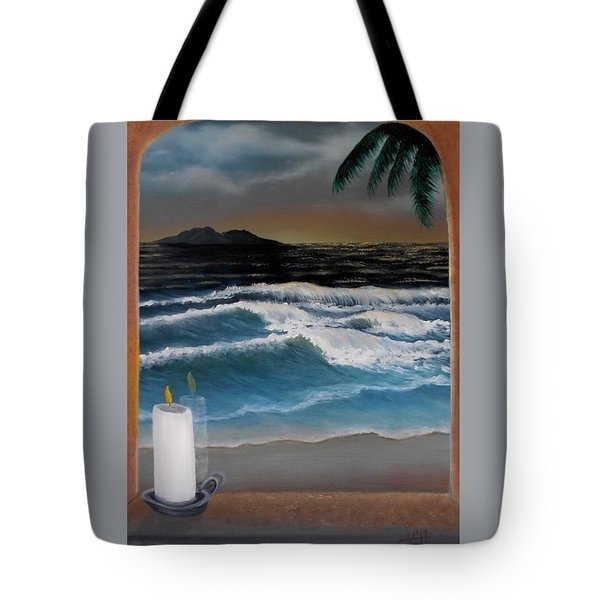 Out My Window-ocean Sunset Tote Bag